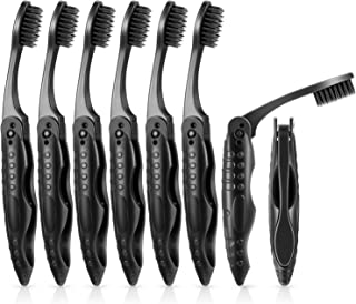 8 Packs Black Travel Folding Toothbrush Portable Charcoal Toothbrush with Soft Medium Bristles for Camping