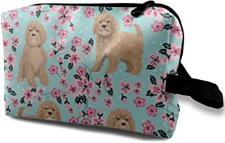 Cavoodle Cherry Blossom Spring Floral Cute Cavapoo Pattern Light Blue Travel Makeup Cute Cosmetic Case Organizer Portable Storage Bag for Women
