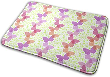 Vines and Butterflies Carpet Non-Slip Welcome Front Doormat Entryway Carpet Washable Outdoor Indoor Mat Room Rug 15.7 X 23.6