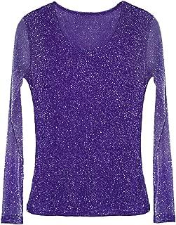 Women's Sheer Glitter Long Sleeve Mesh Shirt Blouse Sexy Shimmer See Through Top