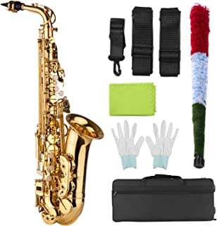 Alto Sax,Bobique AS100 Eb Alto Saxophone Brass Lacquered Alto Sax Wind Instrument with Carry Case Gloves Straps Cleaning C...