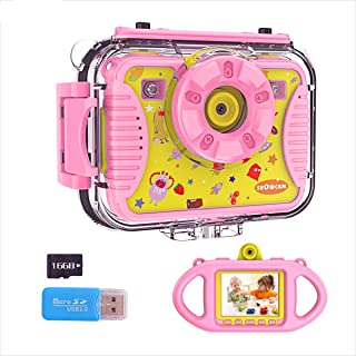 SHOWCAM Kids Camera for Children Toddler with16GB Memory Card, Waterproof Child Video Cam,Selfie Supported1080P 8MP 2.4 Inch Large Screen, Fill Lights, Silicon Handle, 4 Games, Face Recognition (Pink)