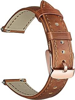 for Fossil Gen 4 Q Venture HR Women Bands, TRUMiRR 18mm Crazy Horse Genuine Leather Watchband Quick Release Strap Stainless Steel Clasp Bracelet for Fossil Gen 3 Q Venture TicWatch C2 Rose Gold Watch