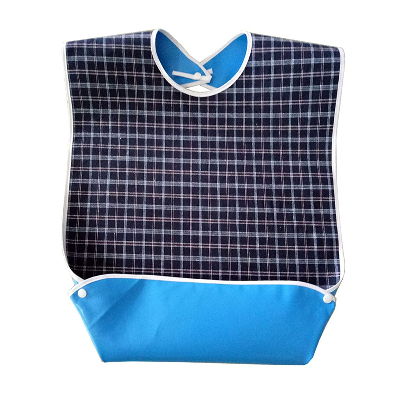 Adult Bib with Optional Crumb Catcher, Oenbopo Waterproof Backing Mealtime Clothing Protector Adult Aid Apron with Snaps for Elderly Patient Senior (Dark Blue)