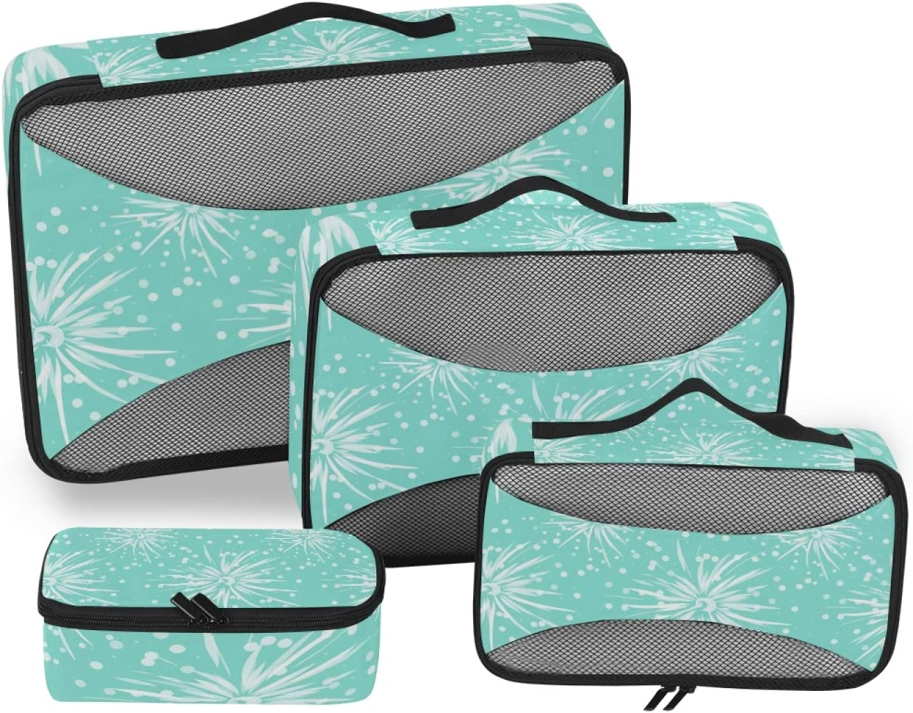 4 Set Packing Cubes Free Bargain sale shipping with Toiletry - Bag Flowers Art White Travel