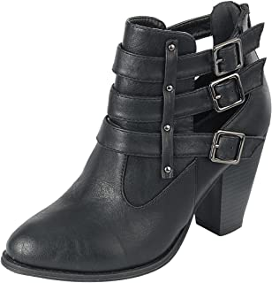 Forever Link Women's Buckle Stacked Chunky Heel Almond Toe Bootie