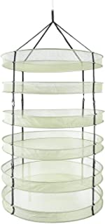 iPower 90 cm Diameter with 6 Layers Steel Rings Foldable Heavy Duty Hanging Dryer Rack, Collapsible Mesh Hydroponic Drying...