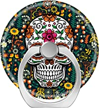 360 Degree Finger Stand Socket Cell Phone Ring Holder,Pop Car Mount with Hook for Smartphone-Colorful Cute Floral Sugar Skull