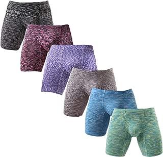 Men's No Ride Up Boxer Briefs Long Leg Underwear Low Rise Trunks with Pouch