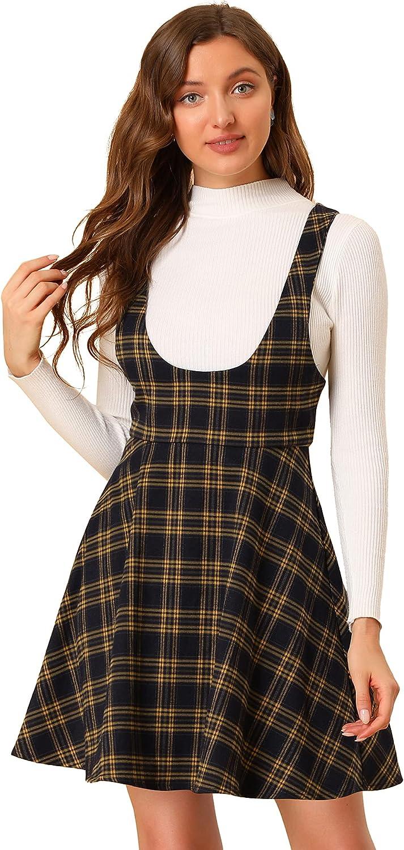 Allegra K Women's Tartan Checks Braces A-line Pinafore Overall Dress Suspender Skirt