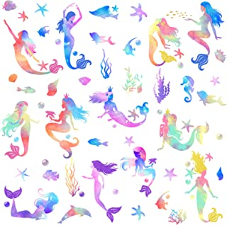 Outus 4 Sheets Mermaid Wall Decals Mermaid Wall Stickers Colorful Gouache Mermaid Decal for Girls Kids Bedroom Nursery Cla...