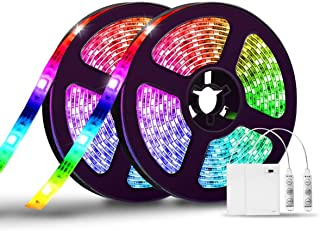 LED Strip Lights Battery Operated,SOLMORE 13.2FT/4M RGB LED Light Strip SMD5050 60 LEDs Rope Lights Led Lights for Room Color Changing Flexible LED Strip Kit for Party Indoor Outdoor (2Pcs)