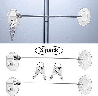 3 Pieces Refrigerator Door Lock Strong Adhesive Freezer Door Lock File Drawer Lock Child Safety Cupboard Lock with Keys (White)