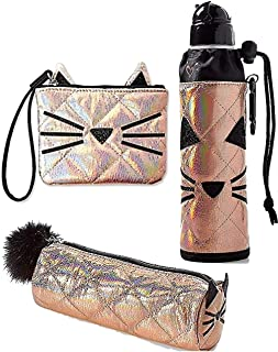 Set of 3 School Round Pencil Pouch, Water Bottle & Wristlet Rose Gold Quilted Cat
