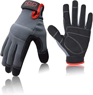 General Utility Light Work Glove,Breathable,Stretchable,Touch Screen,Padded Knuckles and Palm (Extra Large, Black and Gray)