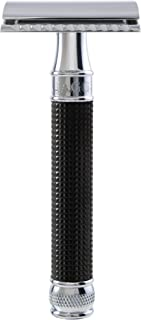 Double Edge Safety Razor, Regular Handle, Black Chrome Laser 3D Diamond