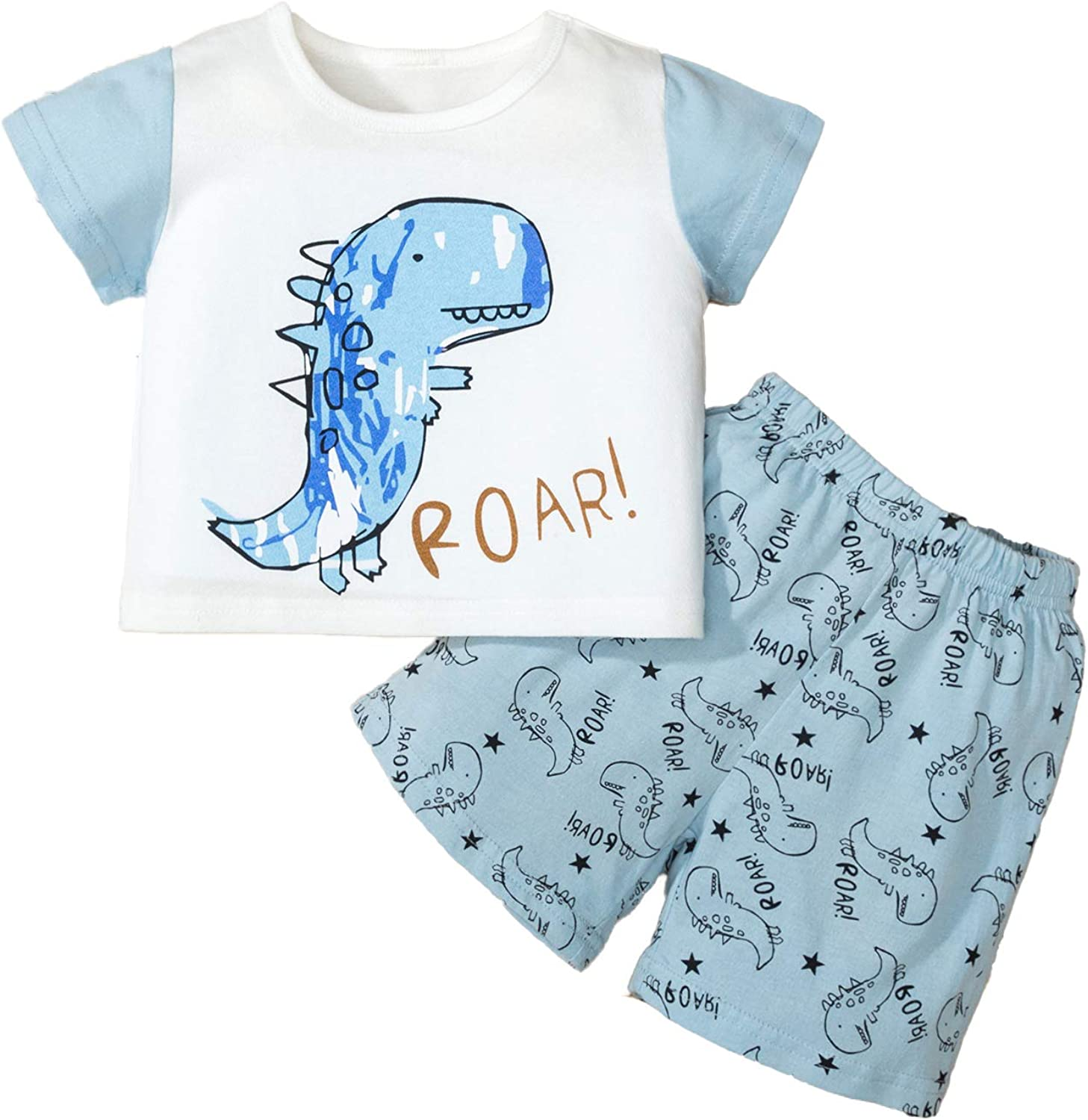 Toddler Boy Short Sleeve Cartoon Pattern Tops Shirt Elastic Star Printed Shorts Outfit for 1-6T