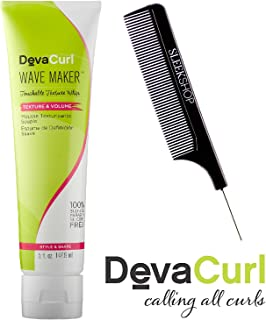 DevaCurl WAVE MAKER, Touchable Texture Ship, TEXTURE & VOLUME (with Sleek Steel Pin Tail Comb) 100% Sulfate-Paraben-Silcone-FREE, STYLE & SHAPE (5 oz / 148 ml)