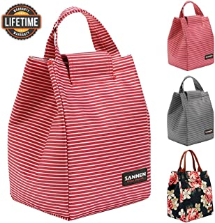 Insulated Lunch Bags for Women Teens Girls Tall Cute Lunch Tote for Meal Prep Large Bento Lunch Cooler Bag Reusable Lunch Box Red and White Stripes