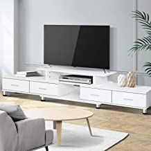 Artiss 160cm - 222cm Length TV Cabinet, Wooden Entertainment Unit Stand, White