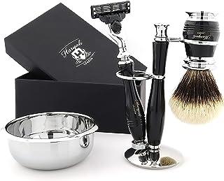 Haryali London Zestaw do golenia ze srebrnymi końcówkami szczotka do golenia - kompletny 5 sztuk aluminiowy zestaw do gole...