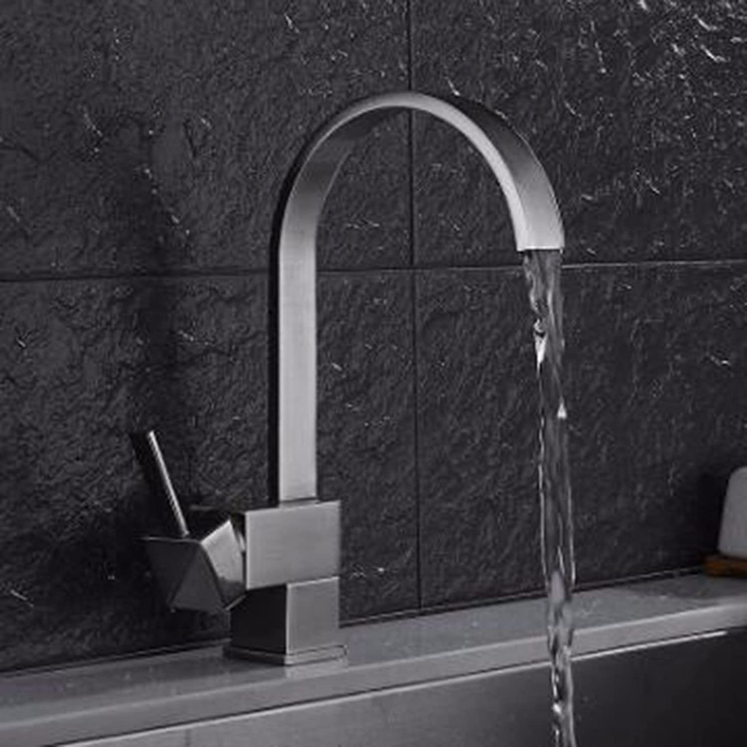 MulFaucet Kitchen Faucet Sink Sink Above Counter Basin hot and Cold Faucet Square Flat Tube redatable