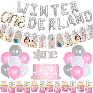 Winter Onederland Birthday Decorations for Princess Winter 1st Birthday Pink, Snowflake Photo Banner Balloons for Frozen F...