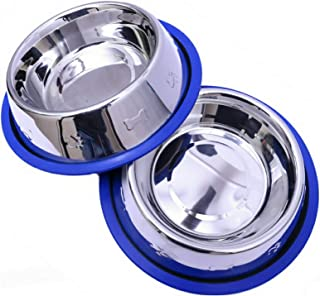 Mr. Peanut's Set of 2 Etched Stainless Steel Dog Bowls - Easy to Clean - Bacteria & Rust Resistant - Non-Skid No-Tip Silicone Ring - Feeding Bowls for Dogs
