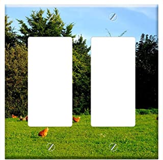 Switch Plate Double Rocker/GFCI - Chickens Poultry Animal Happy Hens Farm Livestock 1