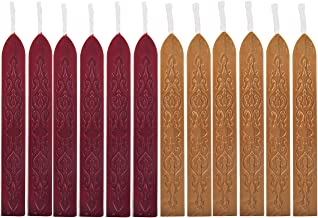 Yoption 12 Pcs Sealing Wax Sticks with Wicks, Antique Wine Red Dark Gold Totem Fire Manuscript Seal Wax for Wax Seal Stamp