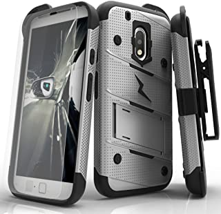 Zizo Bolt Series Compatible with Motorola Moto g4 Play Case Military Grade Drop Tested with Tempered Glass Screen Protector, Holster Gray Black