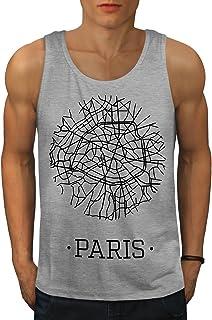 Wellcoda パリ シティ 地図 ファッション 男性用 S-2XL タンクトップ