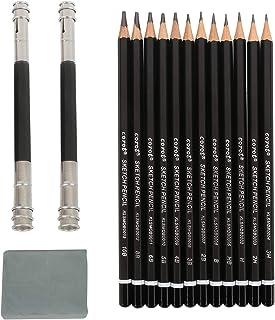 12 Pieces Drawing Sketch Pencils- with Metal Storage Pencil Box- 2 Pencil Extenders & 1 Eraser