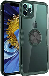 iPhone 11 Pro Max Case 6.5 inch 2019, Carbon Fiber Design Clear Crystal Case with 360 Degree Rotation Finger Ring Holder Kickstand(Work with Magnetic Car Mount) for Apple iPhone 11 Pro Max,Dark Green