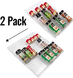 Expandable Spice Rack Inserts, In Drawer Organizers, 8 x 17, 2 Pk, Clear Plastic, Spicy Shelf, Compact Herb Organizers, 3 Tier Seasoning Tray, for Cabinet, Makeup, Cupboard Liner, Kitchen Space Saver