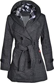 Women's Military Button Hooded Fleece Belted Plain & Check Jacket Coat