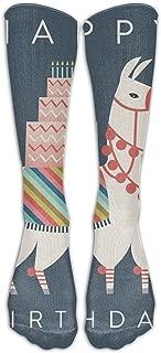 Happy Birthday Llama Spandex High Compression Fashionable Gym Men & Women Cartoon Long Tube Crew Socks