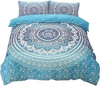 Juego de ropa de cama, 2/3 piezas, edredón de tamaño doble, tipo Mandala, bohemio, egipcio, yoga, indio, hippie, gitano, Nirvana, de NTBED, poliéster, azul, Double(200x200cm)