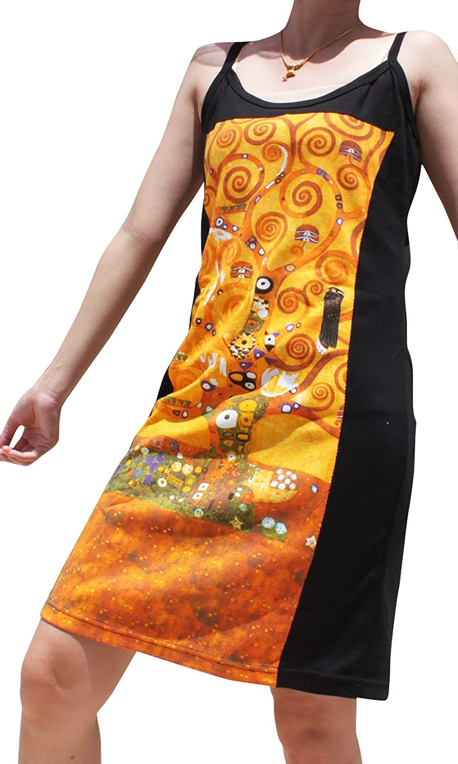 Raan Pah Muang Gustav Klimt The Tree of Life Black Side Dress
