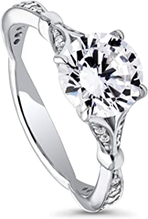 BERRICLE Rhodium Plated Sterling Silver Round Cubic Zirconia CZ Solitaire Promise Engagement Ring 2.28 CTW