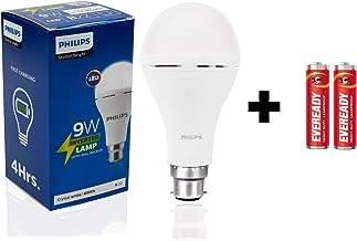 Philips Inverter Bulb 9 Watt Rechargeable Emergency LED Bulb for Home, Cool Daylight, Base B22 + 2 Free Eveready Batteries