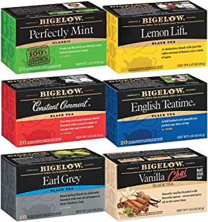 Bigelow Black Tea 6 Flavor Variety Pack, 20 Count Box (Pack of 6) Caffeinated Black Teas, 120 Tea Bags Total (Packaging an...