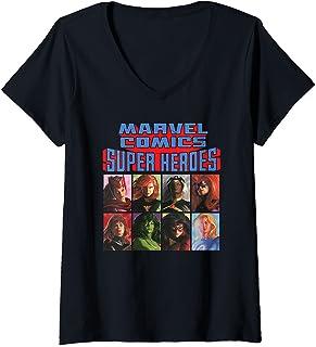 Femme Marvel Comics Super Heroes The Timeless Collection T-Shirt avec Col en V