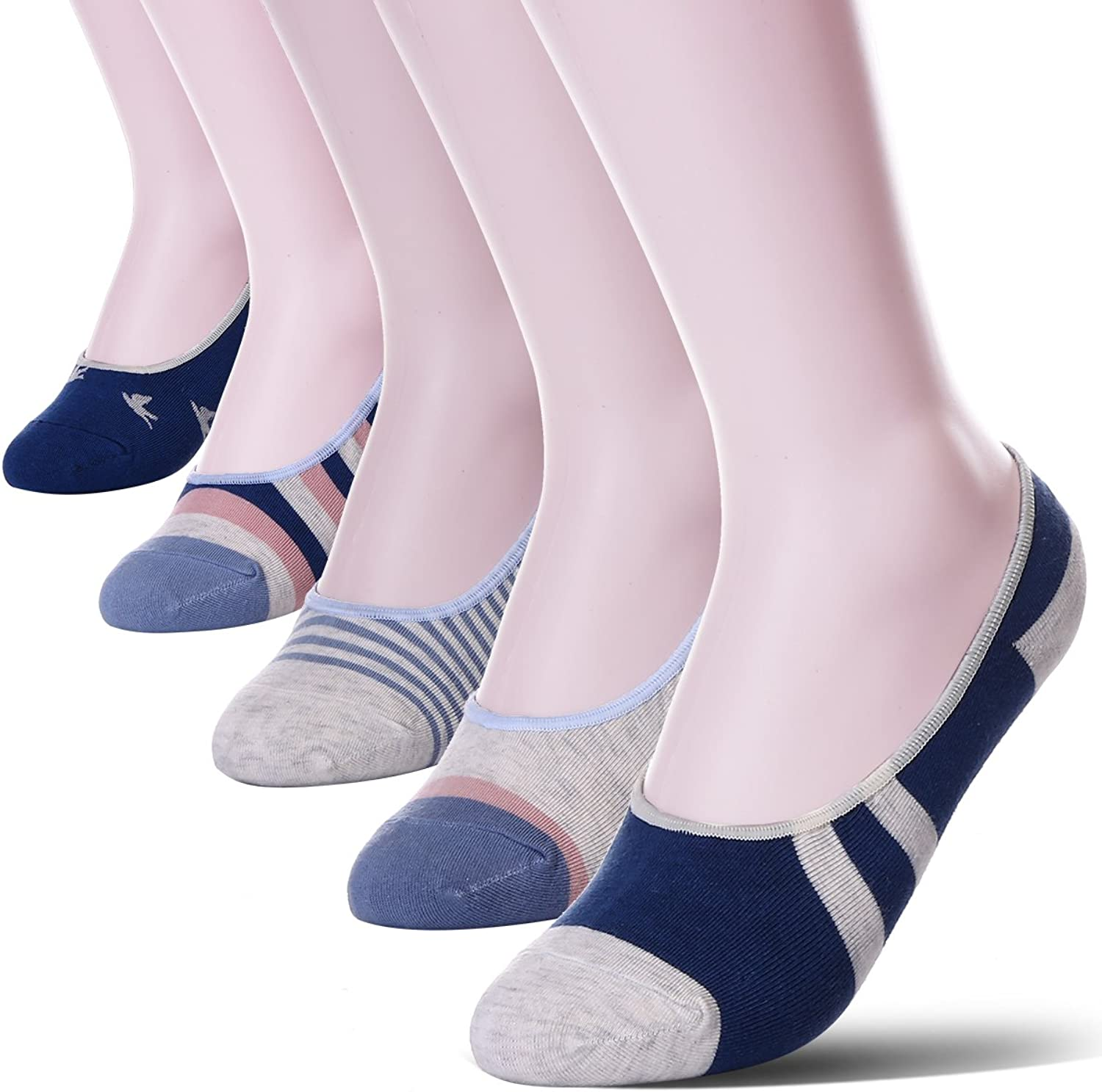 Womens 5 Pack Thin Casual No Show Socks Non Slip Flat Boat Liner Low Cut Ladies Invisible Footies Low Profile Socks