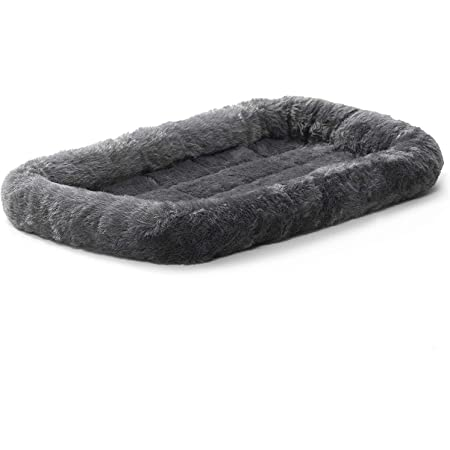 Fluffy's Luxurious Dog Bed | Bolster Dog Bed Fits Metal Dog Crates | Machine Wash & Dry (Small, Black)