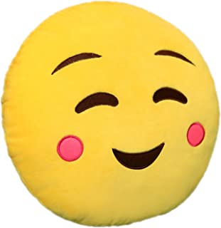 Davidamy's gift 32cm Emoji Cushion Stuffed Plush Soft Toy Pillow Cute Emoticon Yellow Round Throw Pillow Decorative Pillow