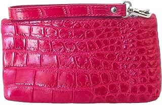 Authentic Belly Crocodile Skin w/Strap Checkbook Zipper Wallet