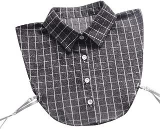 Vovotrade False Collars for Women Adorable Plaid Detachable Lapel Shirt Collar