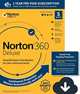 NEW Norton 360 Deluxe – Antivirus software for 5 Devices with Auto Renewal - Includes VPN, PC Cloud Backup & Dark Web Monitoring powered by LifeLock [PC/Mac/Mobile Download]