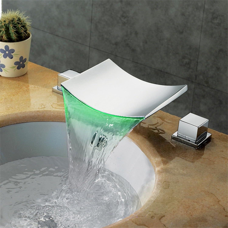 LHbox Moderne Messing verchromt mit Doppelgriff Farbe ndern Mixer Wasserfall Drei Lcher in Das Kalte Wasser Mischventil geführt, die Toilette Waschbecken 3-teilig